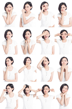 Photo pour collage of chinese woman different facial expressions - image libre de droit