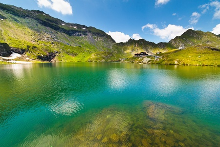 Landscape from Balea Lake in Romania and Fagaras mountains in the summer