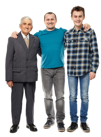 Photo pour Male generations - grandfather, son and grandson in full length studio portrait - image libre de droit