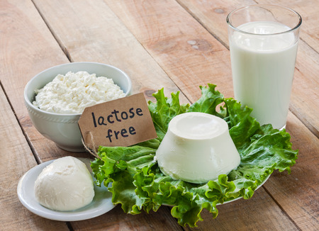 Foto de lactose free intolerance - food with background - Imagen libre de derechos