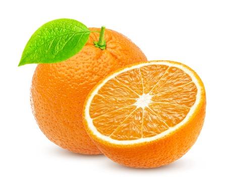 Photo for Orange isolated. One whole orange and half isolated on white background - Royalty Free Image