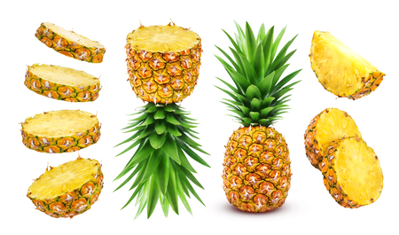 Foto de Pineapple isolated. Whole and sliced pineapple isolated on white background Clipping Path - Imagen libre de derechos