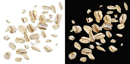 Photo for Oat flakes isolated on white and black background with clipping path, falling oats collection, top view - Royalty Free Image