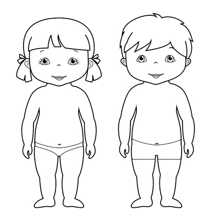 Ilustración de Coloring page with cute baby boy and girl, small children, isolated on white, vector illustration - Imagen libre de derechos