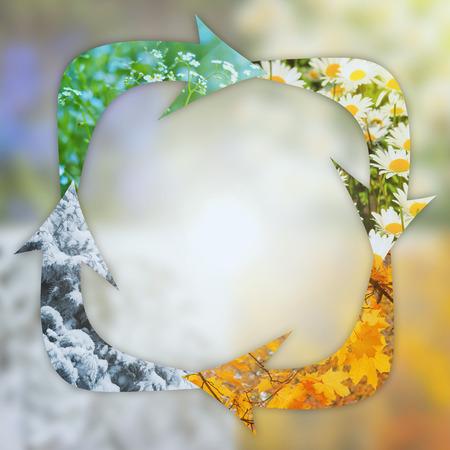 Foto de conceptual background of changing seasons with the arrows - Imagen libre de derechos