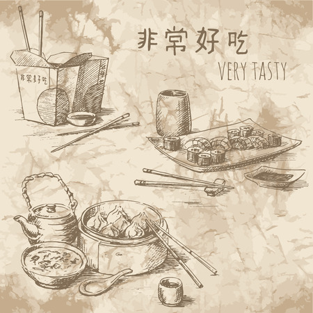 Illustration pour Freehand drawing on the old paper. Sketches of Chinese food: tea ceremony, take away food and sushi set. Vintage style of food design. - image libre de droit