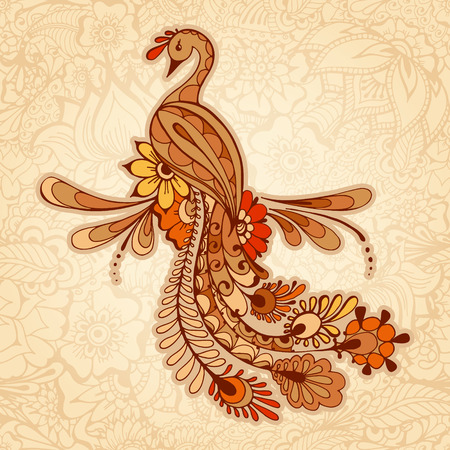 Ilustración de Peacock on the mehndi background, pattern with traditional indian ornamental design. Floral background with indian ornament. - Imagen libre de derechos
