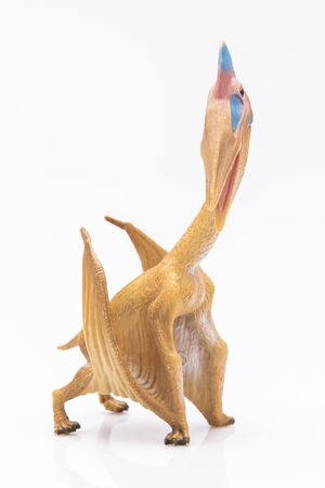 Photo pour close-up of a plastic pterodactyl colorfull figurine isolated on a white background - image libre de droit
