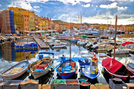 Photo for Colorful harbor of Saint Tropez at Cote d Azur view, Alpes-Maritimes department in southern France - Royalty Free Image
