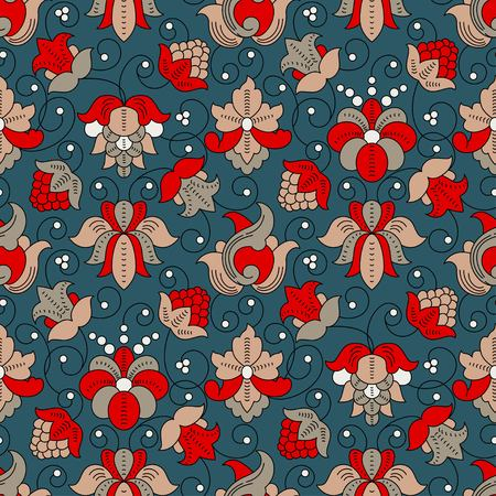 Fine Vintage Floral vector seamless pattern, blue and red