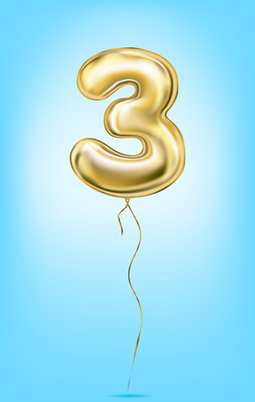 Illustration pour High quality vector image of gold balloon numbers. Digit three, 3 - image libre de droit