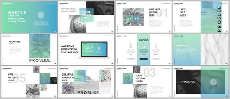 Photo pour Minimal presentations, portfolio templates. Blue elements on a white background. Brochure cover vector design. Presentation slides for flyer, leaflet, brochure, report, marketing, advertising, banner - image libre de droit