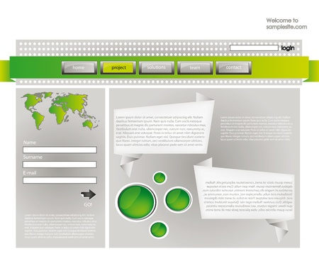 web site design template for company with silver background, frame, arrow and world map