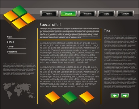 web site design template for company with dark background, 3d cubes and world map