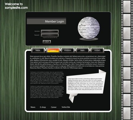 vector web site for company webdesign with green background, 3d ball and origami