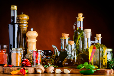 Food Seasoning, Spices, oil, balsamic vinegar and other cooking-condiments