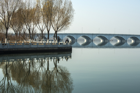 Photo for Chinese Bridge Architecture, Round-hole Bridge Scenery on Rivers - Royalty Free Image