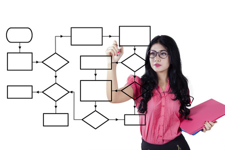 Foto de Young businesswoman using marker to draw empty flow chart on the whiteboard while holding a document - Imagen libre de derechos
