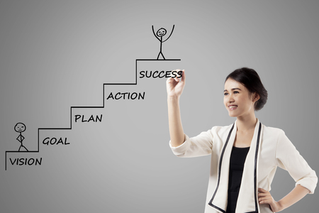 Photo for Image of pretty businesswoman is drawing a ladder with a strategy plan to success - Royalty Free Image