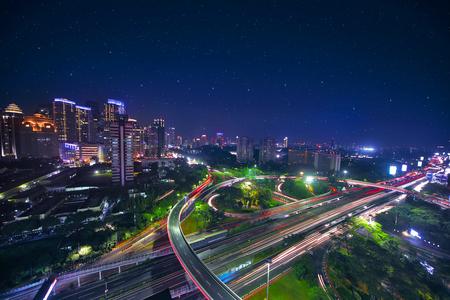 Foto de Bird view of the beautiful Semanggi road intersection in the central business, shot at night time - Imagen libre de derechos