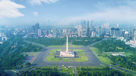 Photo for Beautiful landscape of National Monument with mist at morning time in Jakarta, Indonesia - Royalty Free Image