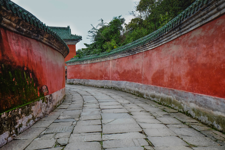 Photo for WUDANG SHAN, HUBEI, CHINA - SEP 09, 2017: at the entrance to the Tai chi bua- ancient temple is a center of the Taoist Association of Wudang Mountain. This here is the place for the scene in Journey to the west. And It's especially name. - Royalty Free Image