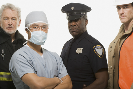 Photo for Firefighter surgeon police officer and construction worker - Royalty Free Image