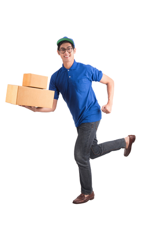 Photo pour Delivery man running isolated on white with clipping path. - image libre de droit