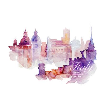 Illustration pour Watercolor Italy Rome on white background. Drawn handmade. - image libre de droit