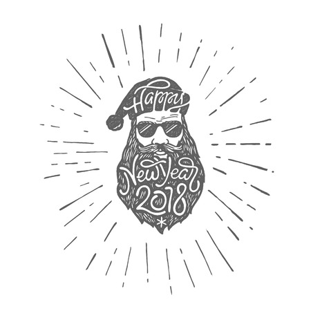Illustrazione per Bad Santa in glasses with typography Happy New Year 2018 on hat and beard. Vector illustration in retro style on white isolated background. - Immagini Royalty Free