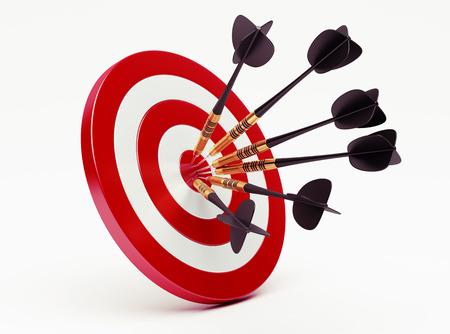 Foto de Darts on red target - Imagen libre de derechos