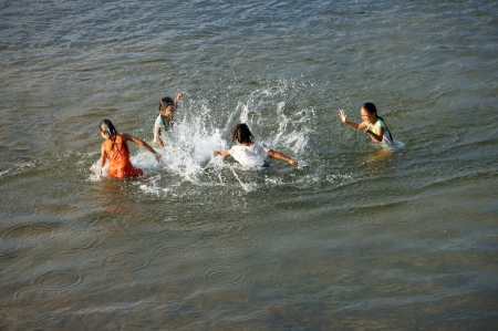 Photo for KHANH HOA, VIET NAM- FEBRUARY 5: Chidren playing, bathe in the river, this is warning about  children's drowning  situation at countryside, Khanh Hoa, February 5, 2013 - Royalty Free Image