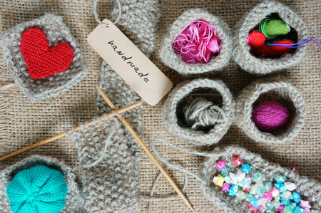 Photo for Handmade product from fibre, hand made basket make from knit, knitting heart, leisure with art hobby, lovely creatve - Royalty Free Image