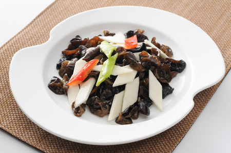 Photo for Stir fried Chinese yam with black fungus - Royalty Free Image