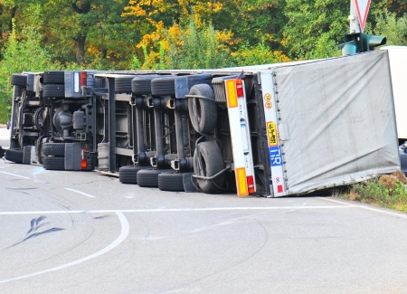 Photo for Truck fell over after accident  - Royalty Free Image