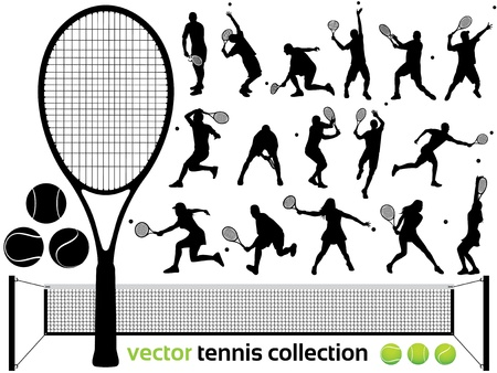 Tennis Players Silhouettes - tennis collection    High Detail