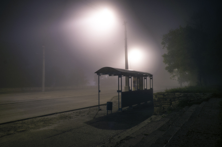 Photo for Foggy street lights misty with night deserted road and trees with bus stop - Royalty Free Image