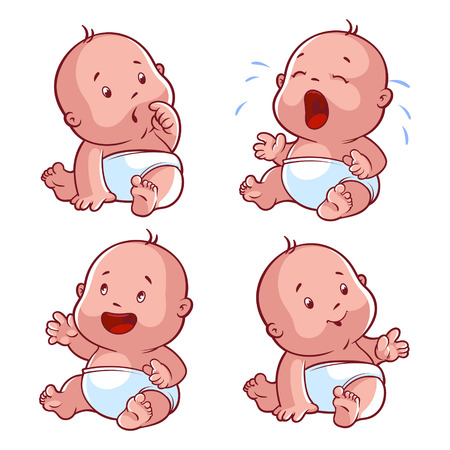 Foto de Baby toddler set, with worried baby, crying baby, happy baby, smiling baby. Vector Illustration cartoon on a white background. - Imagen libre de derechos