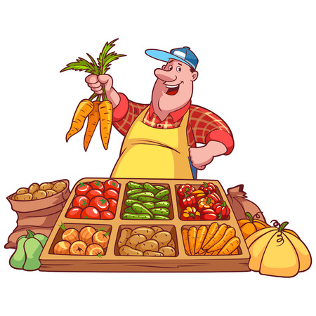 Photo for Cheerful vegetable seller at the counter with a carrot in his hands - Royalty Free Image