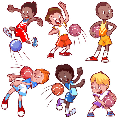 Illustration for Cartoon kids playing dodgeball. Vector clip art illustration on a white background. - Royalty Free Image