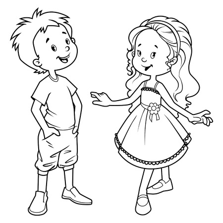 Illustration for Very cute kids. Boy and girl. Vector illustration on a white background. - Royalty Free Image