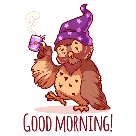 Illustration pour Woken owl in the nightcap with a cup of coffee. Cartoon vector character on a white background. - image libre de droit