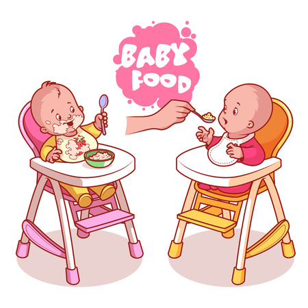 Illustration pour Two kids in baby highchair with plate of porridge. Vector clip-art illustration on a white background. - image libre de droit