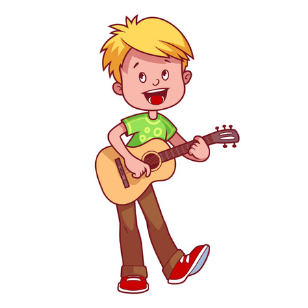 Illustration pour Cartoon boy with a guitar in his hands. Vector clip art illustration on a white background. - image libre de droit