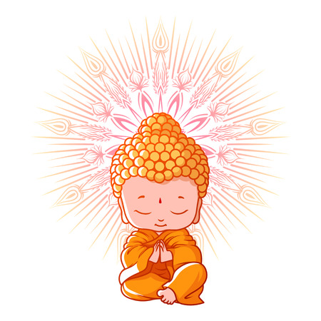 Illustrazione per Little meditating Buddha. Cartoon character. Vector cartoon illustration on a white background. - Immagini Royalty Free