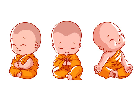 Illustrazione per Set of little meditating monks. Vector cartoon illustration on a white background. - Immagini Royalty Free