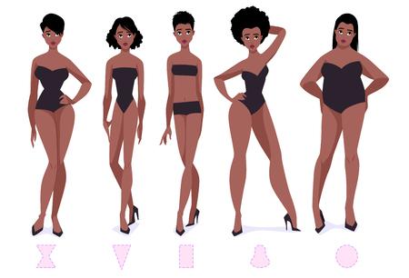 Ilustración de Set of female body shape types - five types. African american women. Vector cartoon illustration. - Imagen libre de derechos
