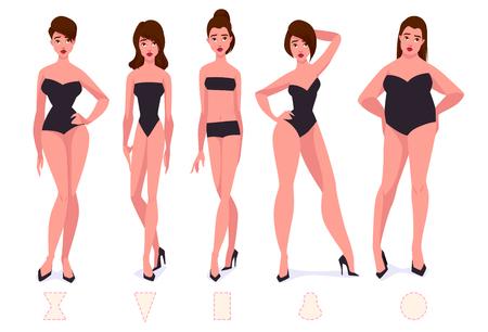 Ilustración de Set of female body shape types - five types. Vector cartoon illustration. - Imagen libre de derechos