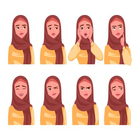 Illustrazione per Set of Muslim woman's emotions. Vector cartoon illustration. - Immagini Royalty Free