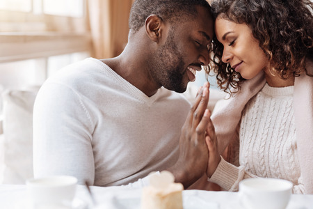 Photo for Peacefulness in us. Delighted peaceful positive African American couple sitting in the cafe and touching hands of each other while expressing peacefulness and love - Royalty Free Image